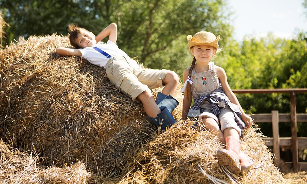 Zwei Kinder sitzen auf einem Strohberg.